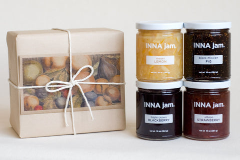 GIFT: 4 jars, wrapped in kraft paper with an art card