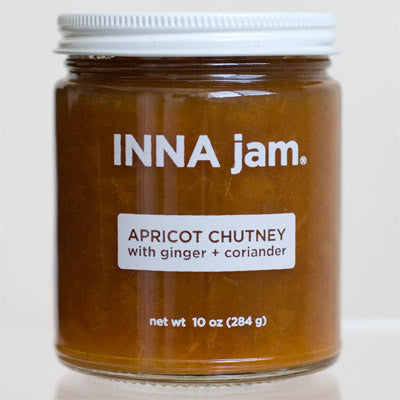 This is a jar of our sweet, savory, spicy and tart apricot chutney, made with: organically grown apricots from the Capay Valley in California as well as organically grown ginger and coriander.