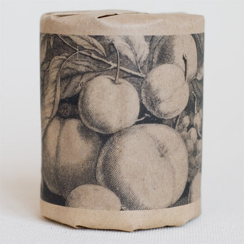 """Fruit: August"" gift wrap features art depicting summer fruit, including peaches and plums, originally a an engraving (black print on kraft paper)"