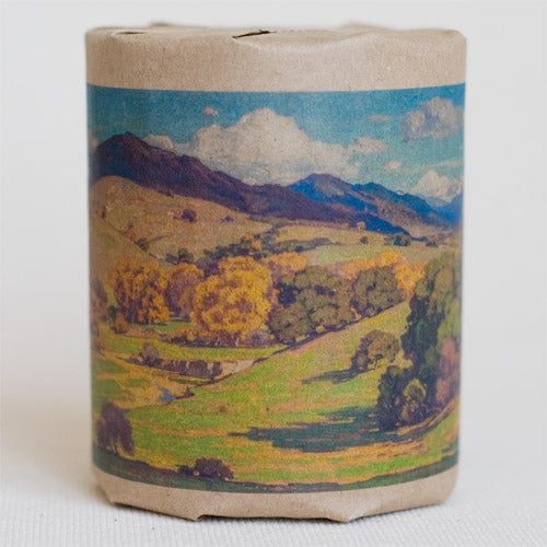"""California Landscape"" gift wrap features art depicting rolling hills, trees, and clouds in the sky, originally an oil painting (full color printed on kraft paper)"