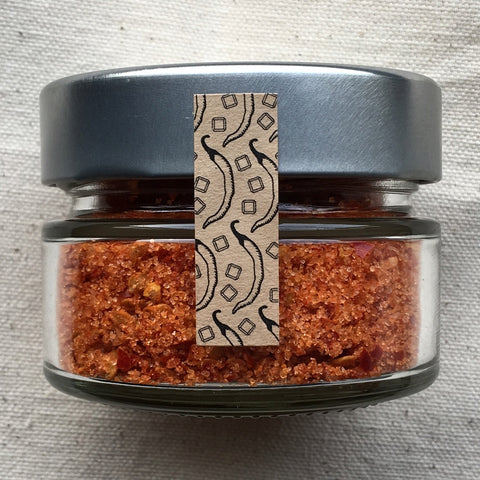 Cayenne salt! Heat-wise, our cayenne salt is mild in spiciness. It is made from sea salt (solar-evaporated in the San Francisco Bay), fresh organic cayenne peppers (grown in Capay Valley, California)