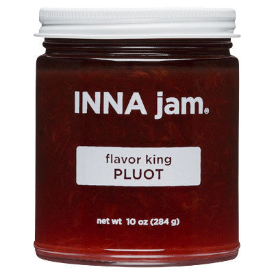 flavor king Pluot jam! This jam is made from organic flavor king Pluots grown in Linden, California, organic unrefined sugar and fruit pectin. the flavor king pluot is a cross between a plum and an apricot. This superb varietal has the perfumed, floral brightness of a plum and the nectary sweetness of an apricot. The complexity and depth of flavor of this fruit is astounding and lingers on the palate.