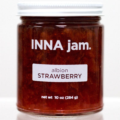 This is a jar of albion STRAWBERRY jam made from organic albion strawberries grown in Watsonville, CA. This jam tastes like childhood nostalgia!