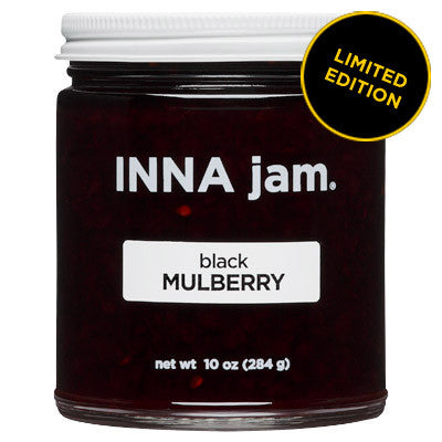 black MULBERRY jam! made from: sustainably grown black mulberries from Dunnigan, California, organic unrefined cane sugar and fruit pectin. These babies are actually cousins of the fig! They have a unique flavor that combines delicate sweetness as well as a lovely balance of savory and tart.