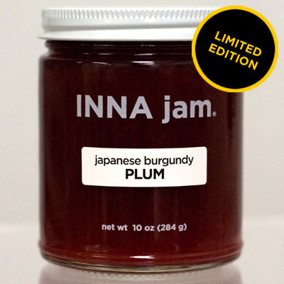Japanese Burgundy Plum jam! Made from organic japanese burgundy plums grown in Lodi, California, organic unrefined cane sugar, and fruit pectin. This tart and luscious jam has a spicy richness, reminiscent of cherries, and a softer set (ideal for spooning on ricotta toast! and waffles!). These plums radiate a brilliant burgundy just as their name would suggest.