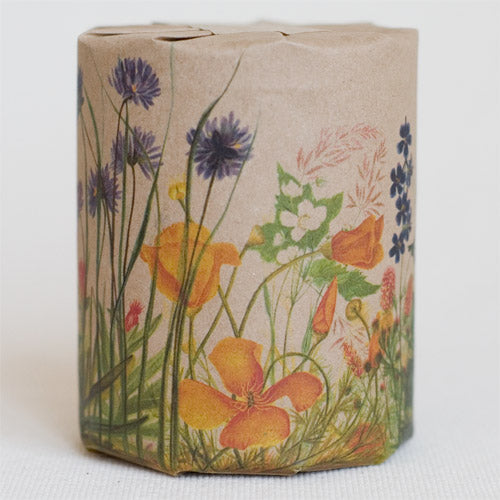 """Wild Flowers"" gift wrap features art depicting wild flowers of the pacific coast, originally watercolor illustrations (full color printed on kraft paper)"