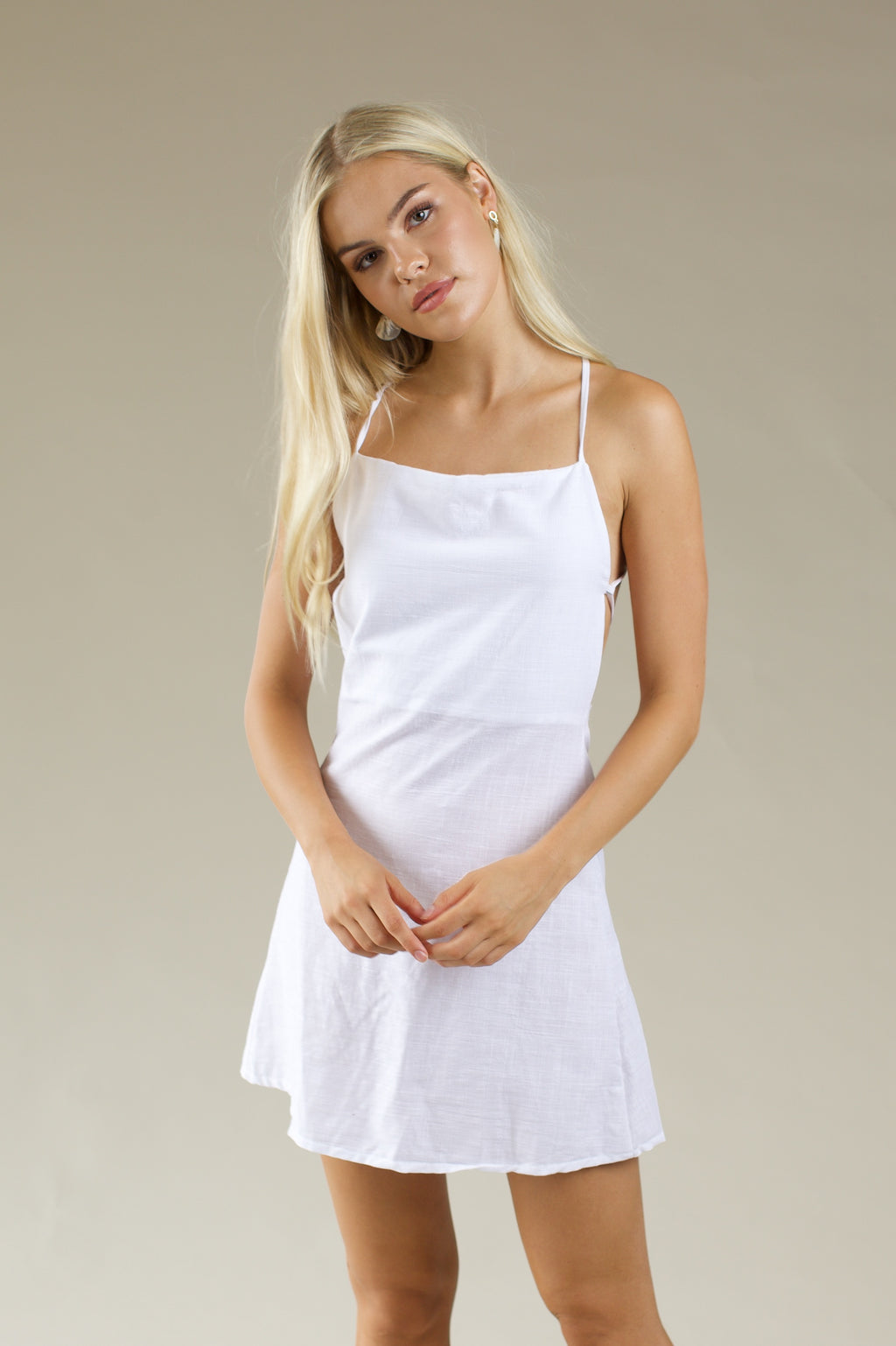 Daily String Mini Dress - WHITE