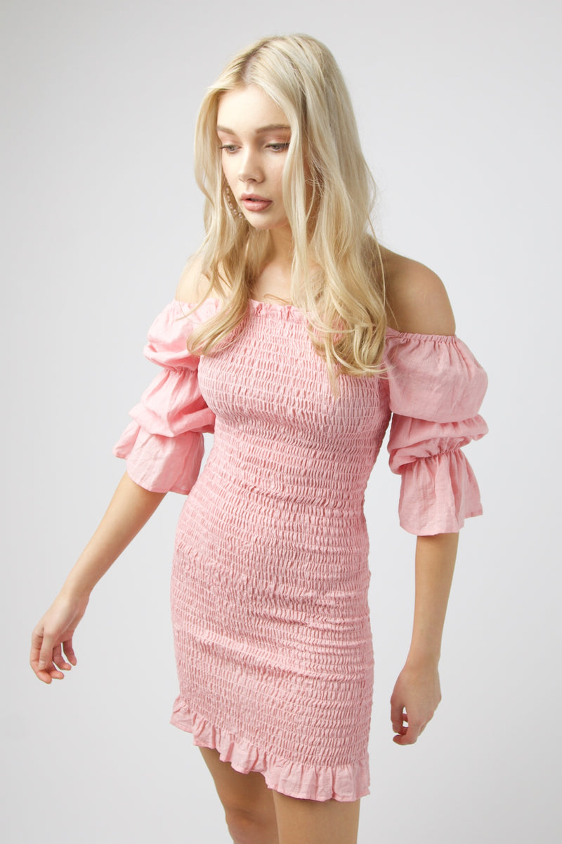 Harlow Mini Shirred Dress - PINK