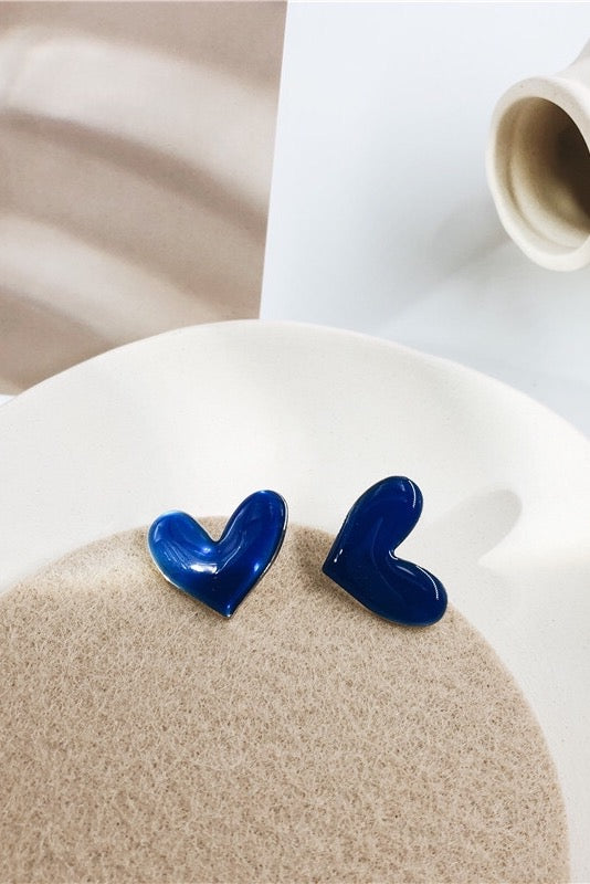 Love Heart Stud Earring - BLUE
