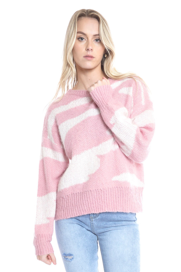 Zebra Knit Sweater - PINK