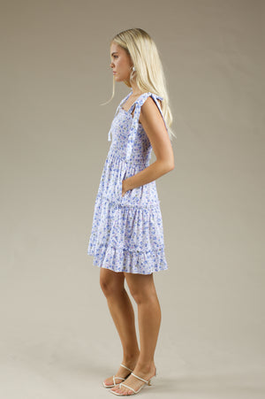 Day Dreamer Short Dress - BLUE FLORAL