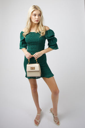 Harlow Shirred Mini Dress - GREEN CHECK