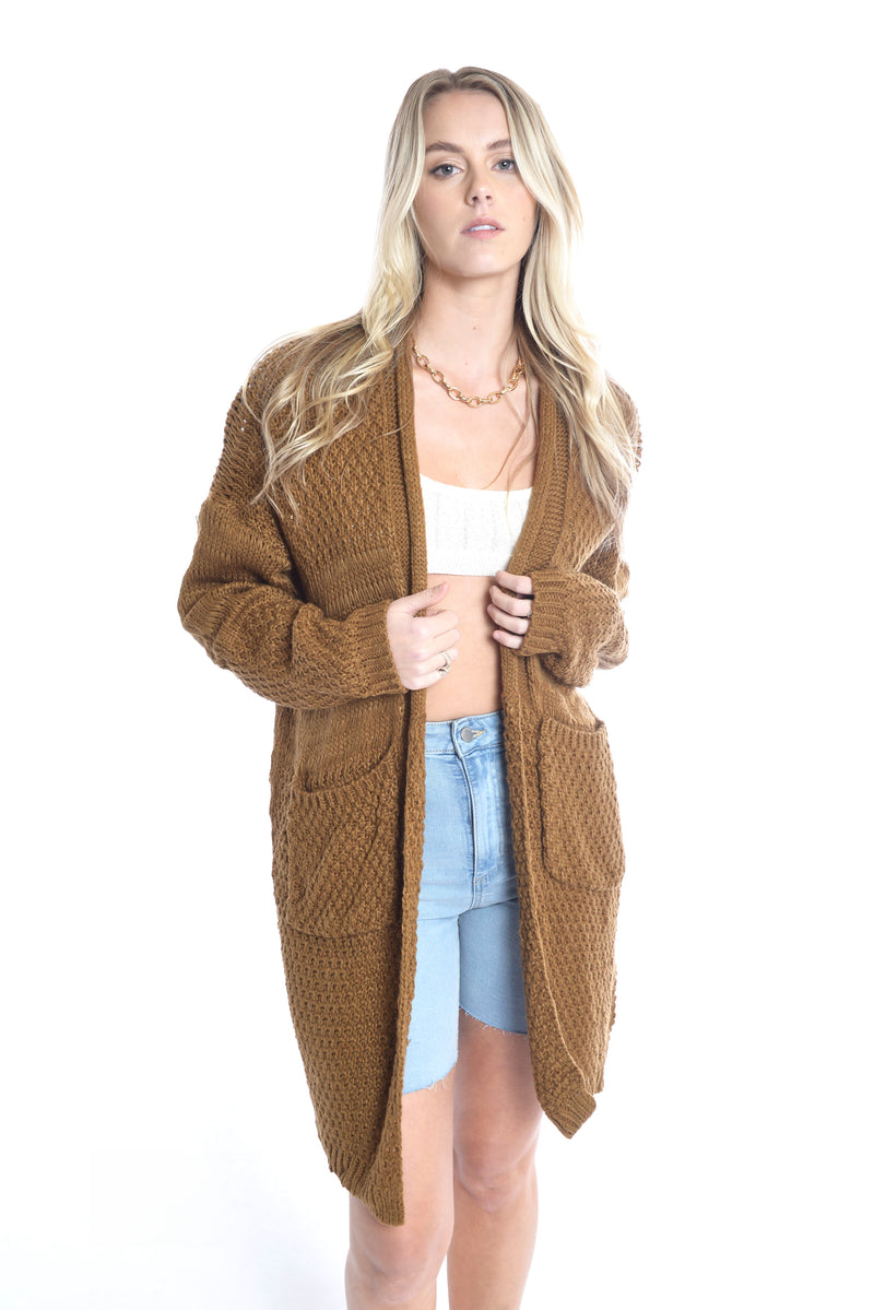 Crystal Heart Cardi - BROWN