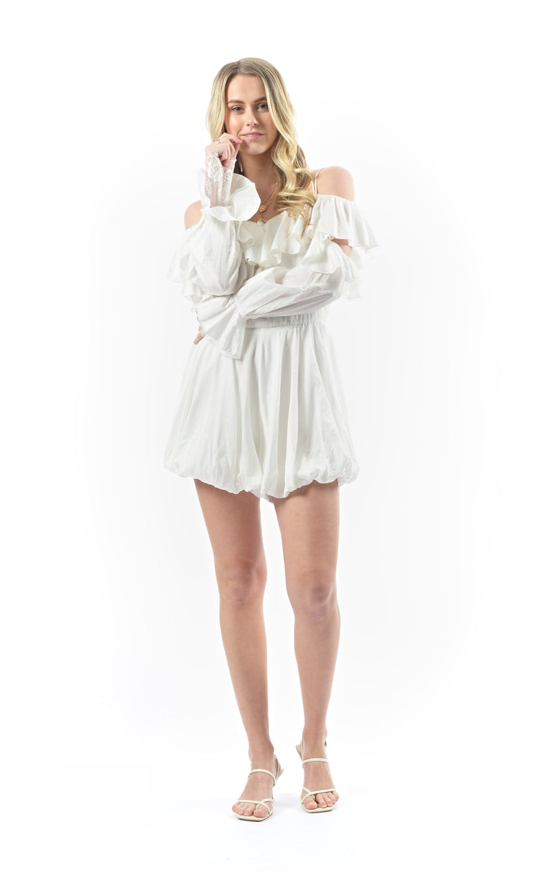 The Milky Way Silk Romper - CREAM