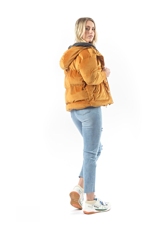 Pamper Velvet Puffer Coat - TAN