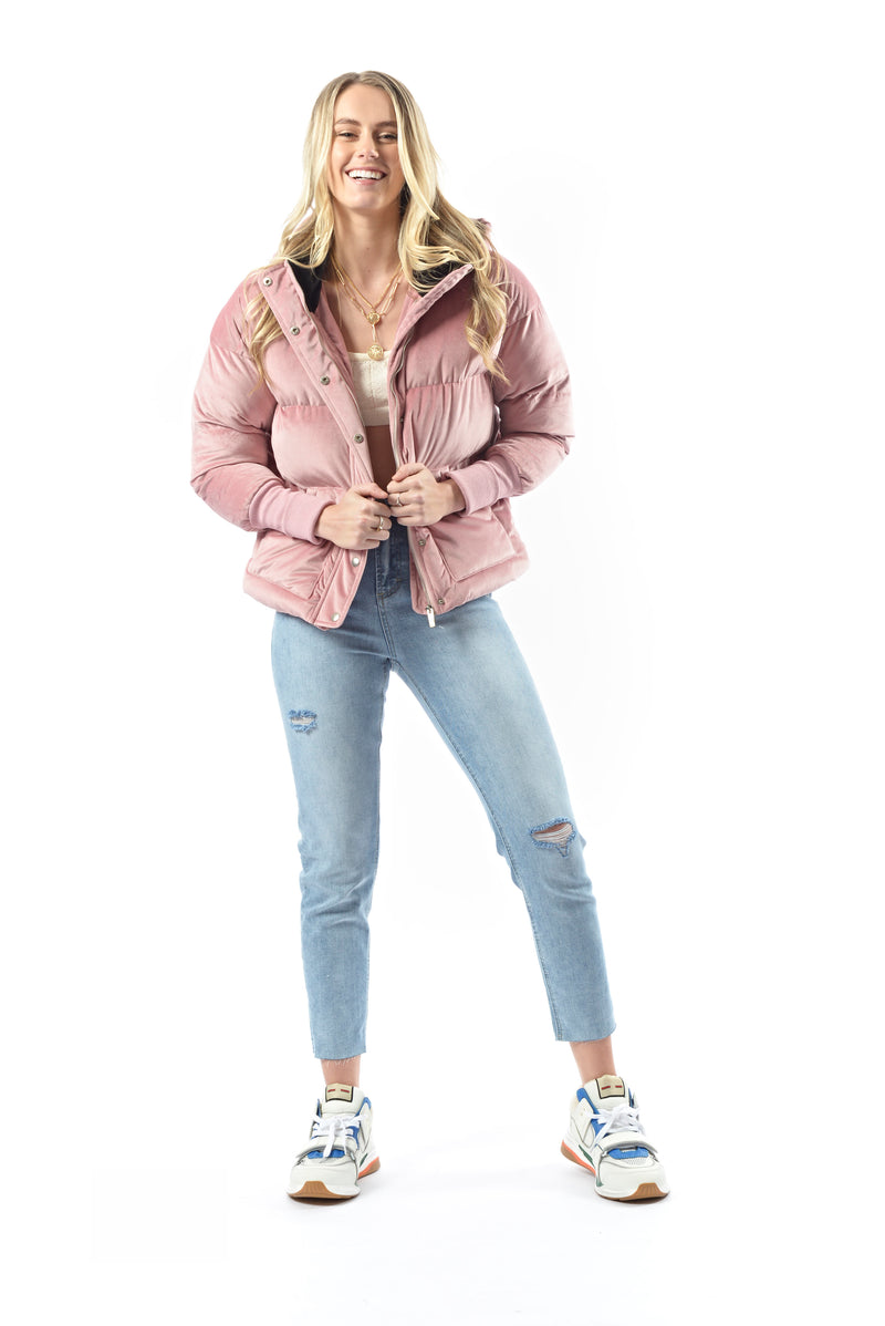 Pamper Velvet Puffer Coat - DUSTY PINK