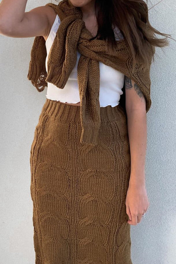 Folley Knit Skirt - BROWN