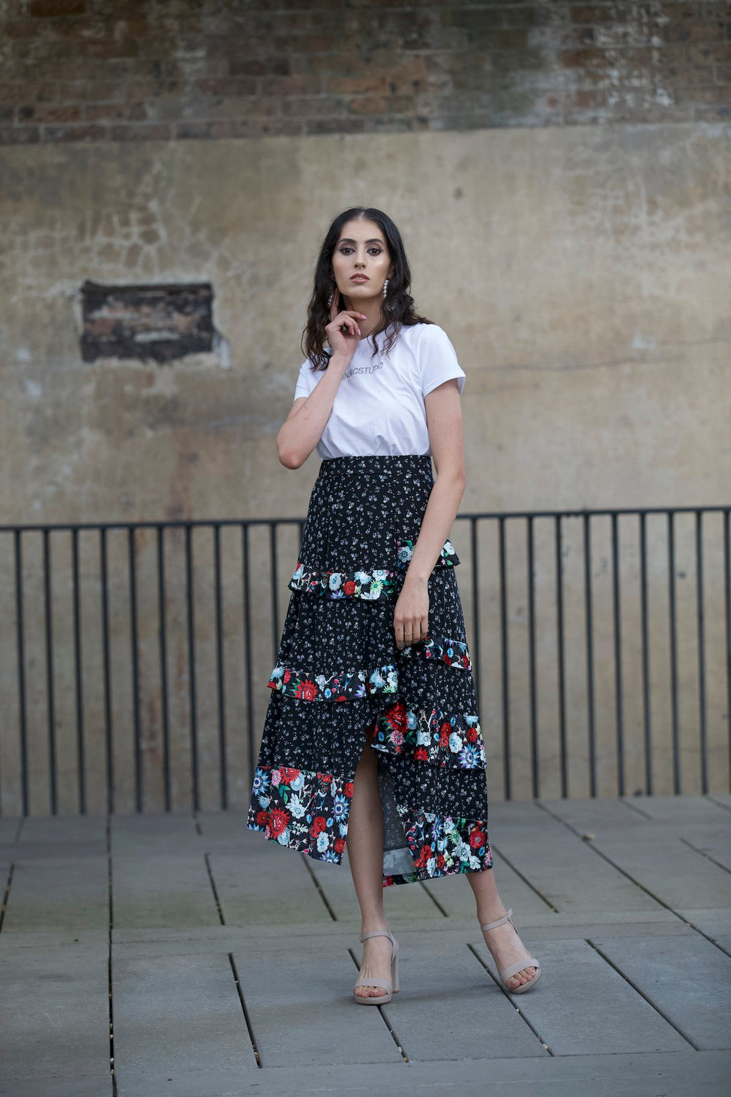 The Floral Swing Skirt - BLACK