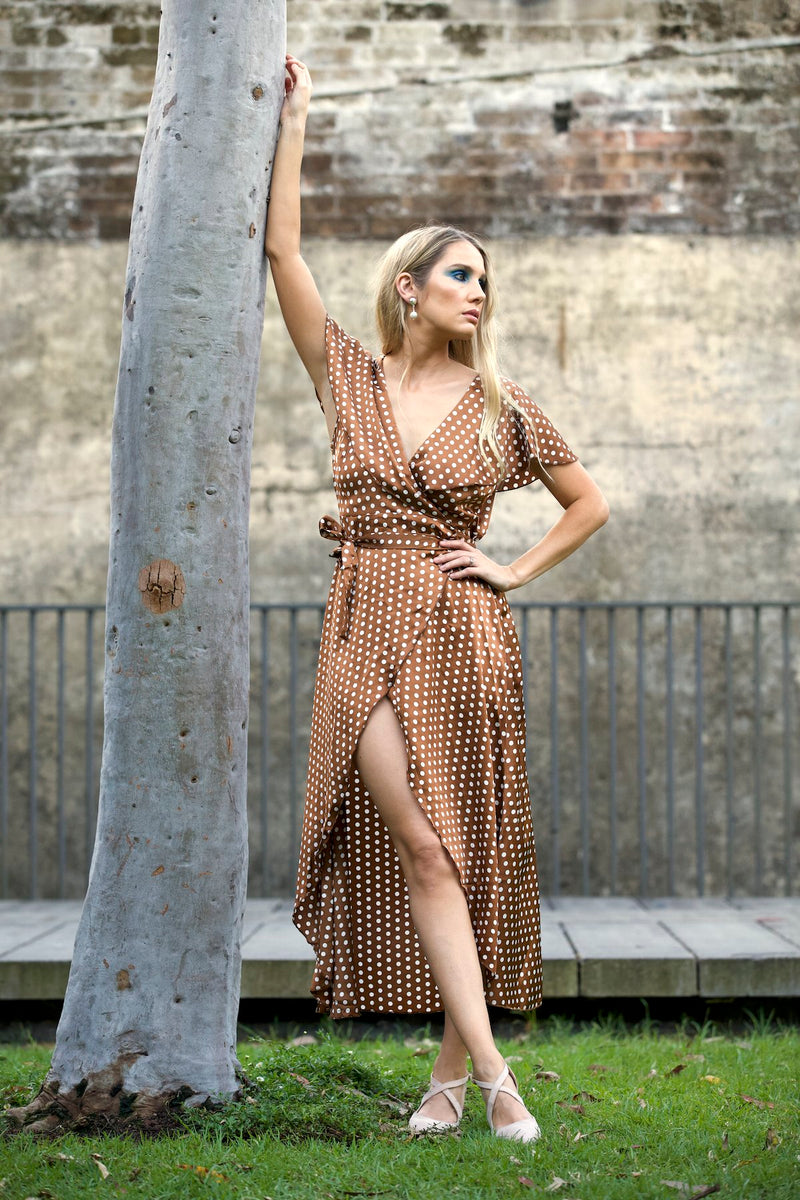 Oh Bella Maxi Wrap Dress - RUST