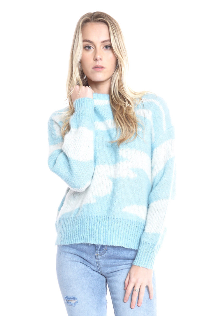 Cocoon Zebra Knit Sweater - BLUE