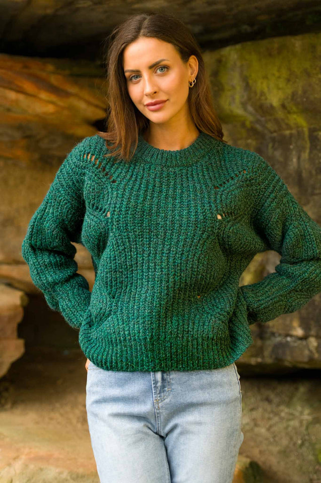 Daze Round Neck Sweater - EMERALD