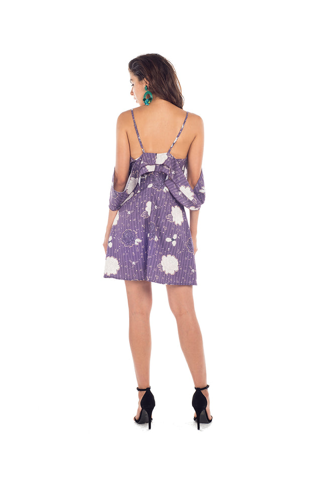 Gypsy Dress - FLORAL PRINT IN GRAPE