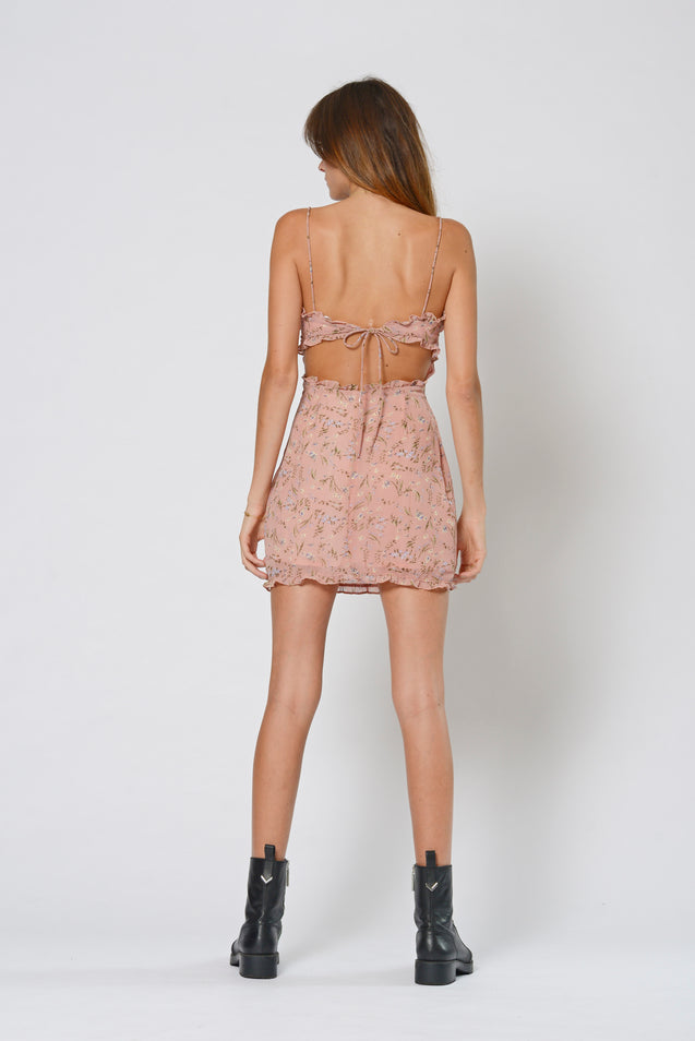 Gold Diggers Strap Dress - PINK FLORAL