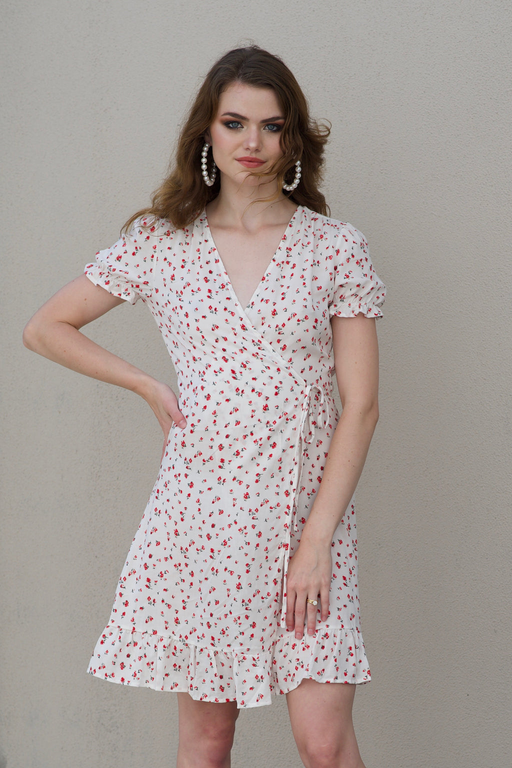 Valentine Wrap Dress - WHITE
