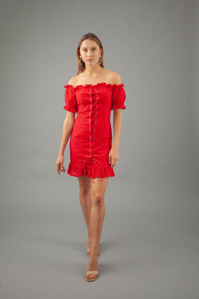 Julia Off Should Dress - RED