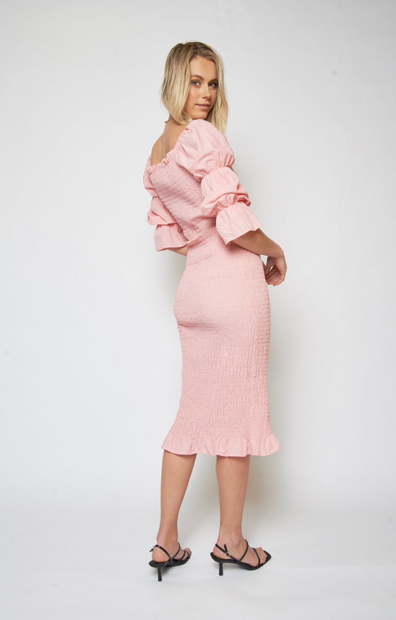 Vanessa Shirred Dress - PINK