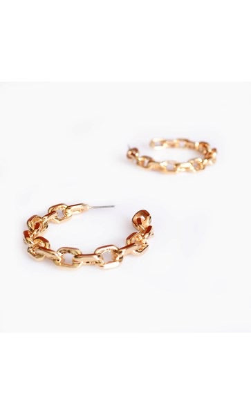 Tilly Chain Hoop Earrings - GOLD