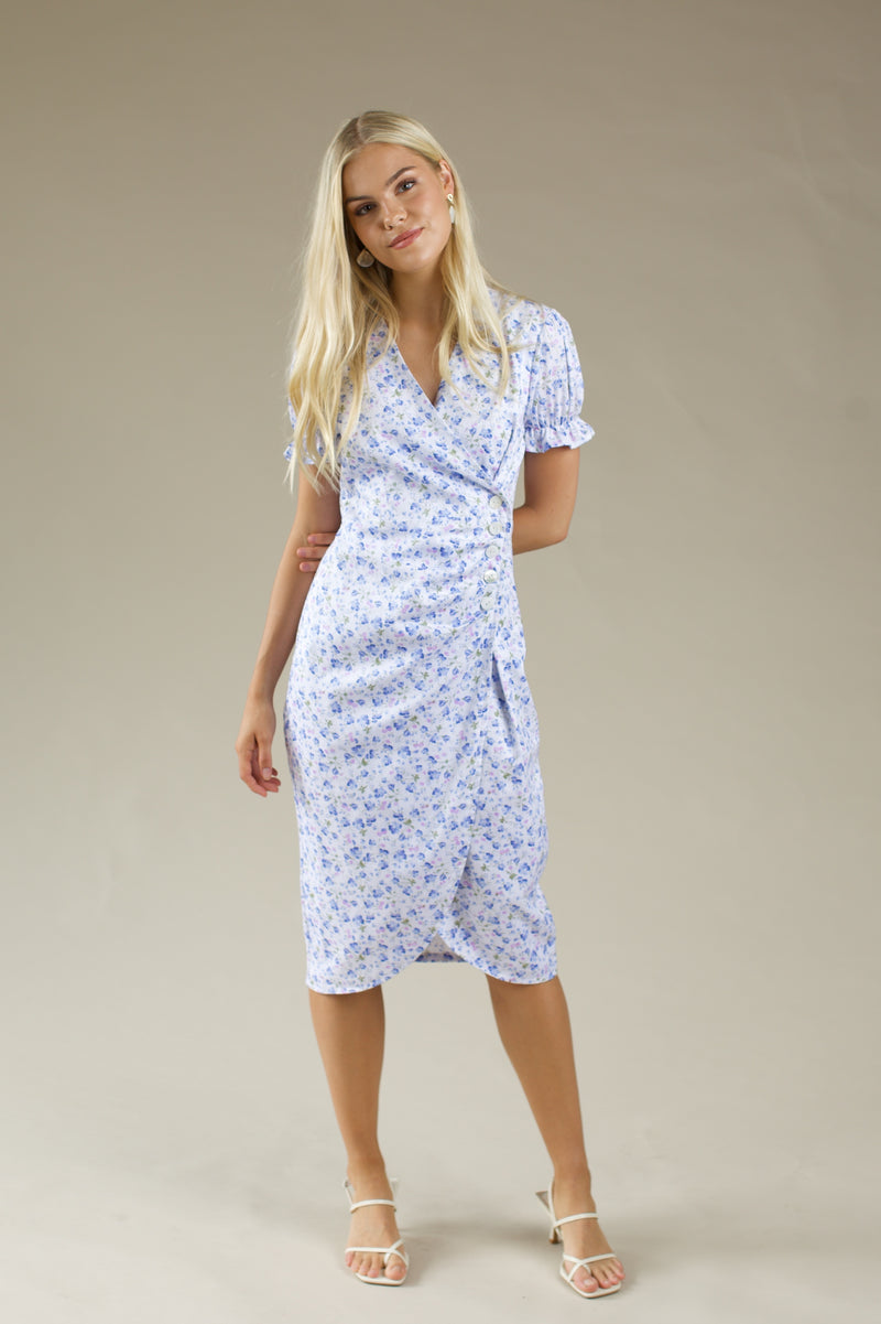 Shell Button Warp Midi Dress - BLUE FLORAL