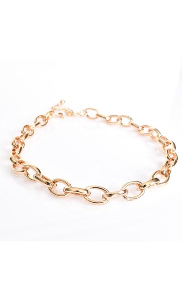 Rounded Link Chain Necklace - GOLD