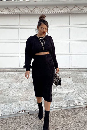 Folley Knit Skirt - BLACK