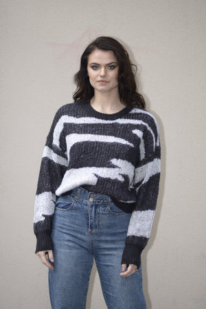 Cocoon Zebra Knit Sweater - BLACK