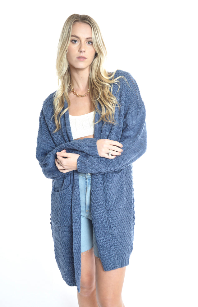 Crystal Heart Cardi - DENIM
