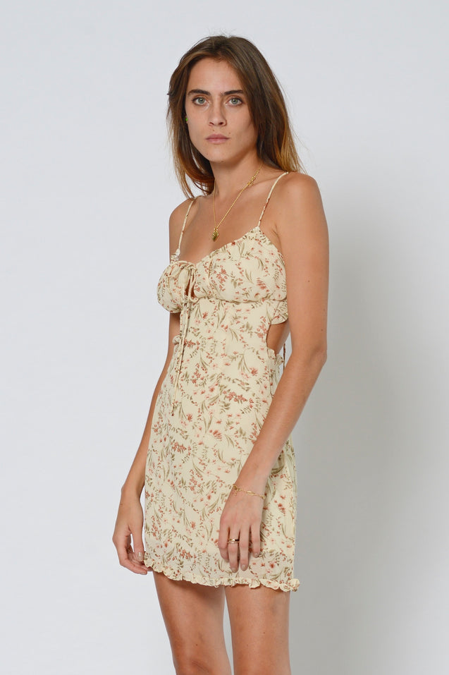 Gold Diggers Strap Dress - NUDE FLORAL