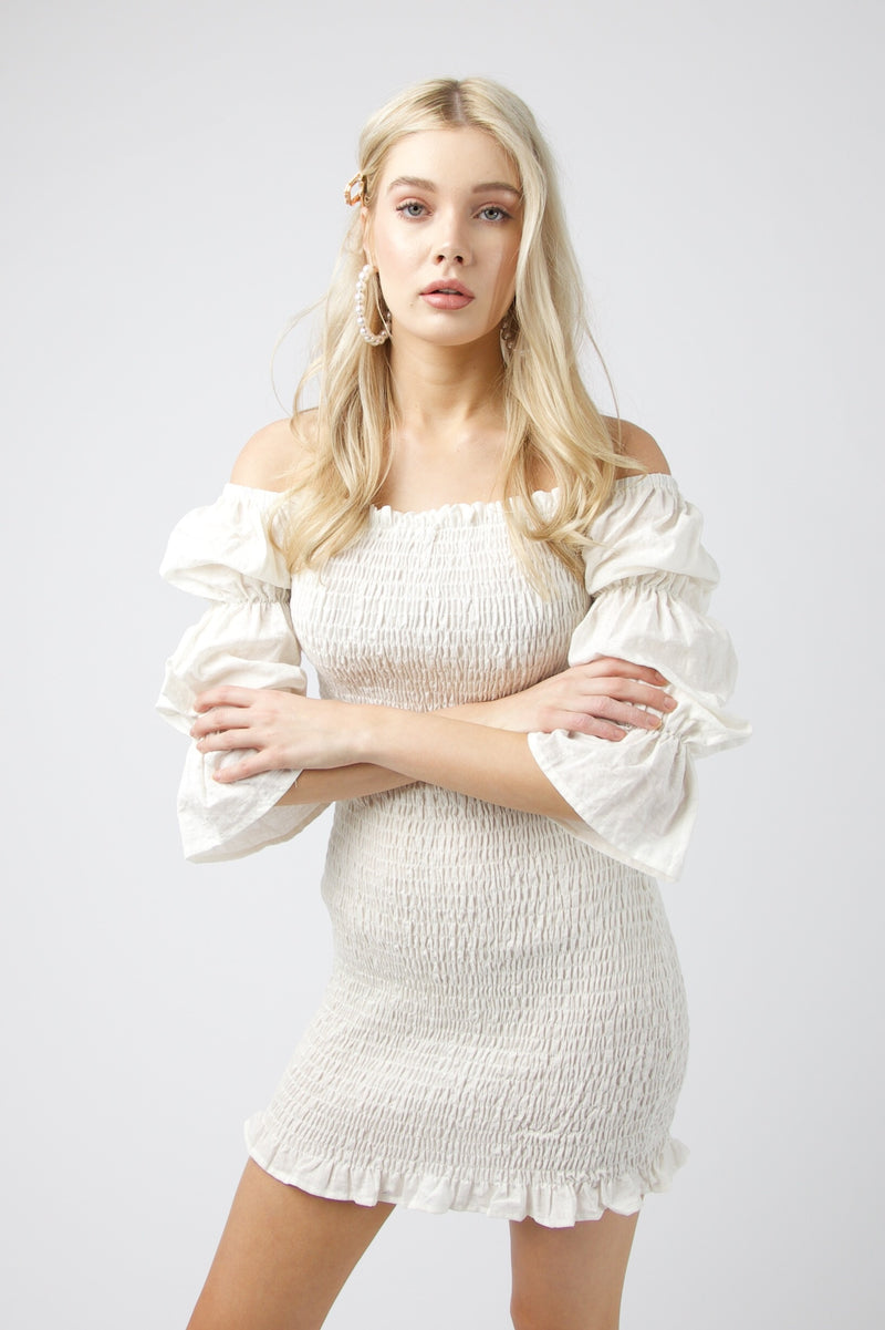 Harlow Mini Shirred Dress - WHITE