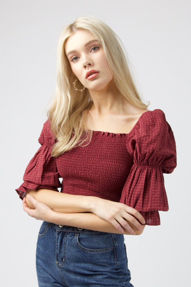 Cherrie Blouse - WINE GINGHAM