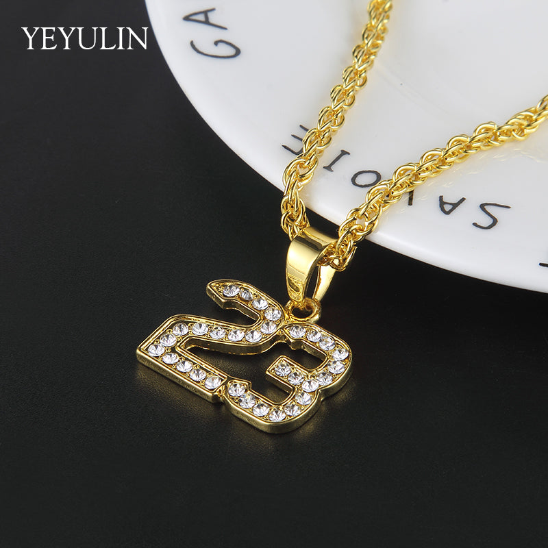 Gold & Iced Out Number 23 Pendant Chain