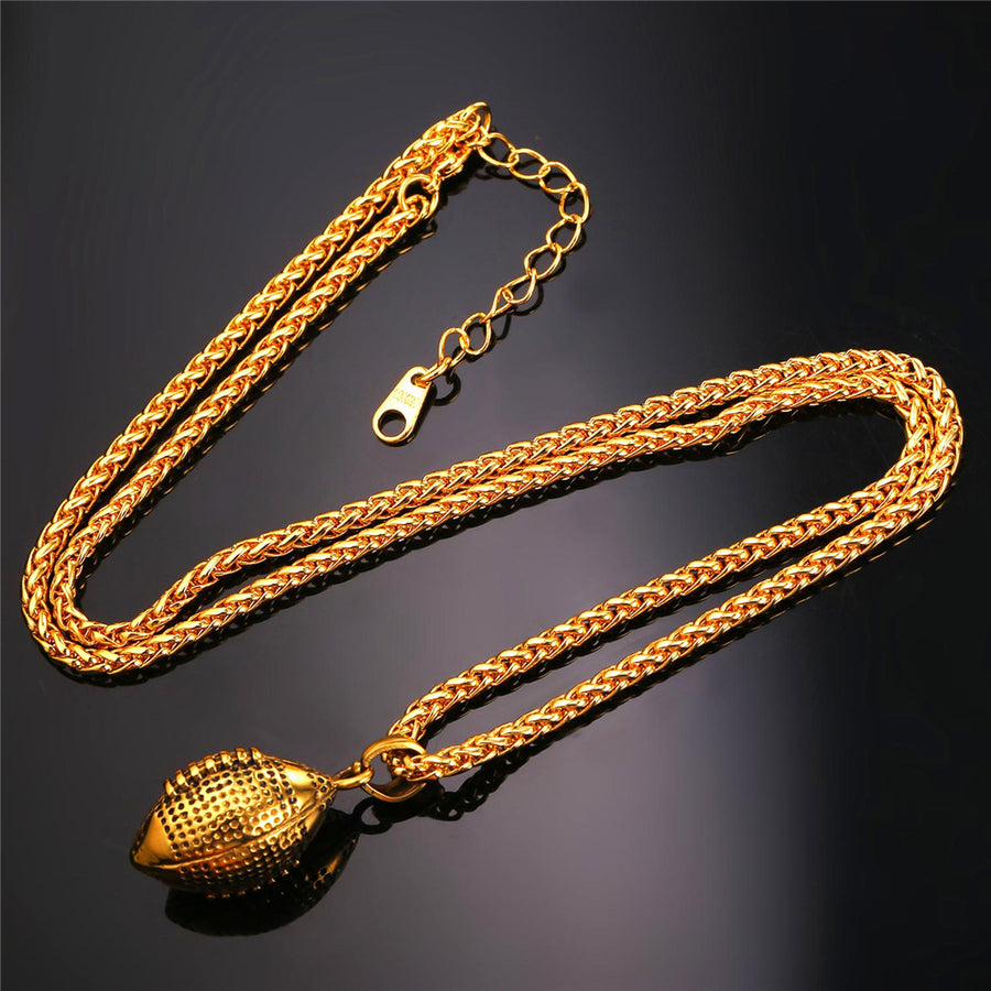 Football Pendant Gold Color Stainless Steel