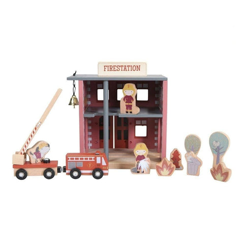Little Dutch Feuerwehr Set - Little Railway Collection - Holzspielzeug - dadu.ch