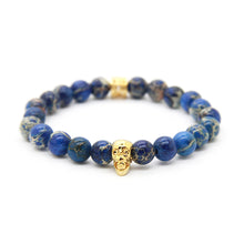 Load image into Gallery viewer, Prestige 18k Gold Skull & Blue Sediment Bracelet