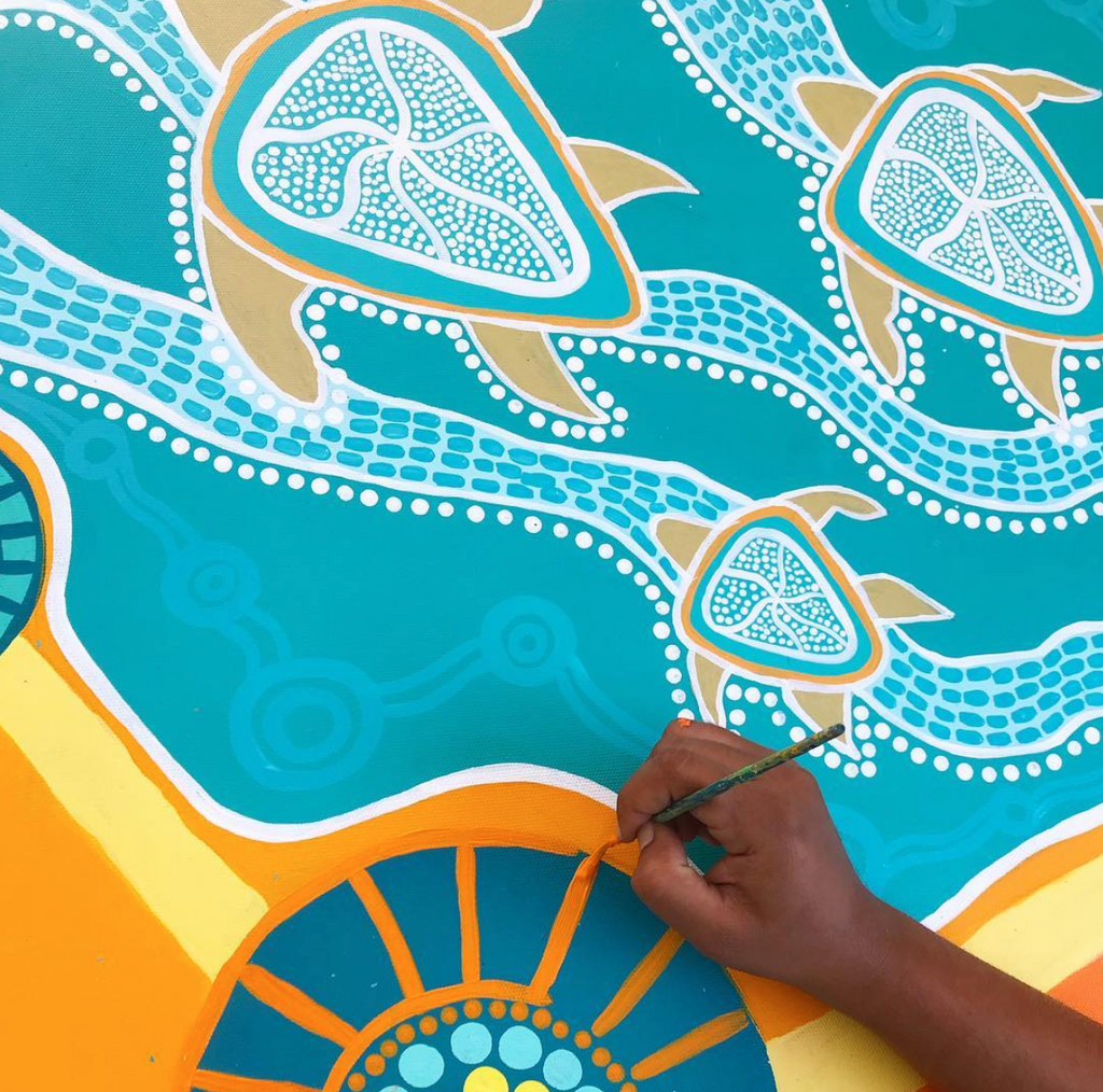 Aboriginal painting of sea turtles, blues, whites and yellows