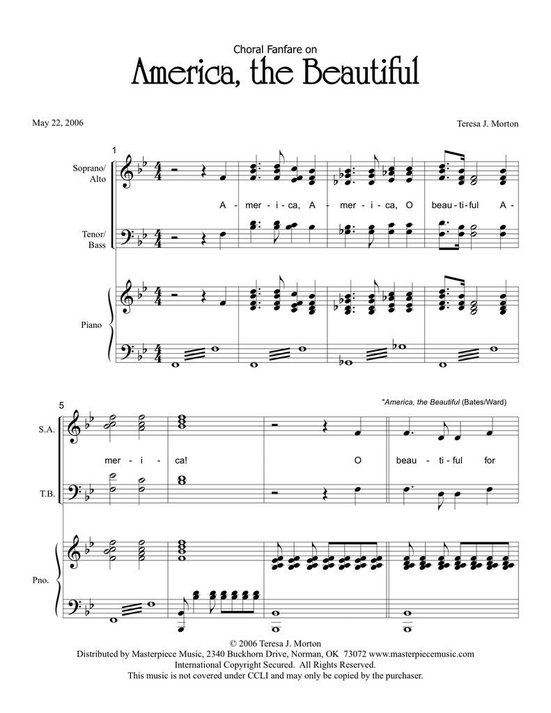 "Choral Fanfare on ""America, the Beautiful"" (SATB)"