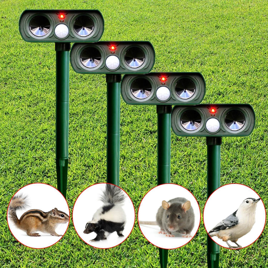 4 PCS Solar Power Ultrasonic Animal Pest Repeller Infrared Sensor - g-boxes