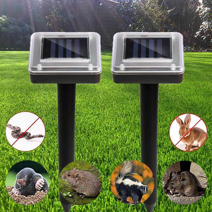 2 Pcs Solar Ultrasonic Repeller Moles Control - g-boxes