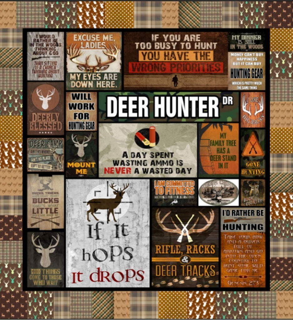 Deer Hunter Letters Blanket Quilt - g-boxes