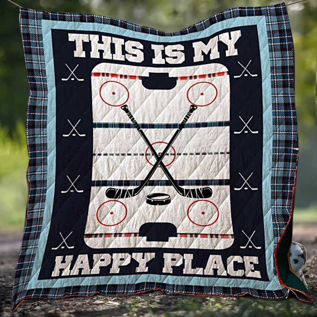 Hockey Happy Place Blanket Quilt - g-boxes