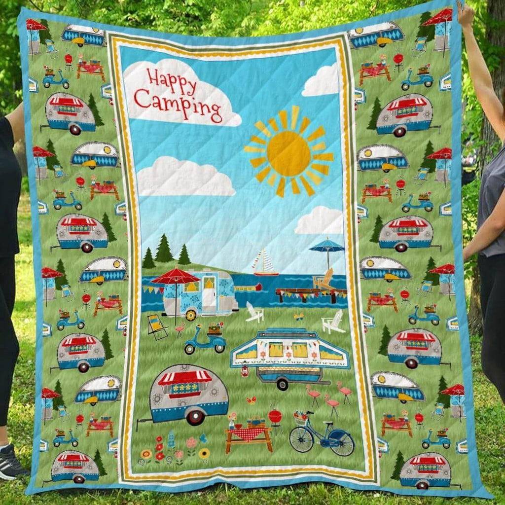 Happy Camping Sunshine Blanket Quilt - g-boxes